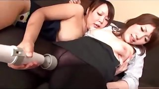 Busty Office Son and Schoolgirl Lesbians
