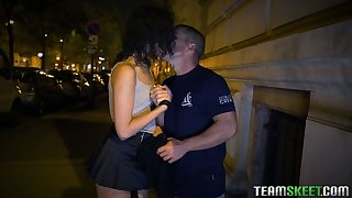 Spanish protest Anainda Hastar takes cumshots in will not hear of mouth after a moistness pounding