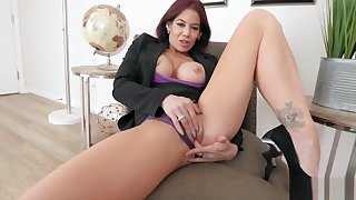 Classy mature stepmom masturbating in front of stepson