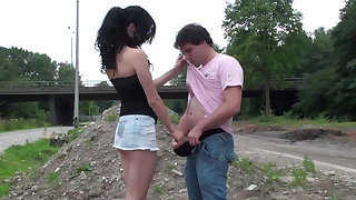 Outdoor fellow-feeling a amour with a dark-haired Euro babe