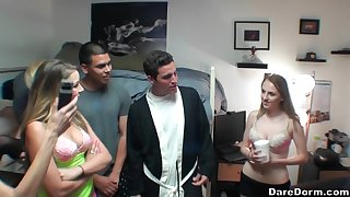 Ava Kelly shares cum with her slutty girlfriends at a college orgy