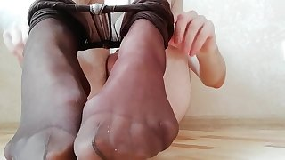 Young boy in pantyhose use buttplug and then cum exceeding limbs in socks