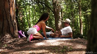 Forest making love increased by cumshot in mouth for Monica Brown from a black dude