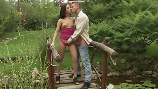 Nude teen gets ass fucked in alfresco