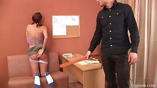 Cute Skye takes off her drawers for a spanking session
